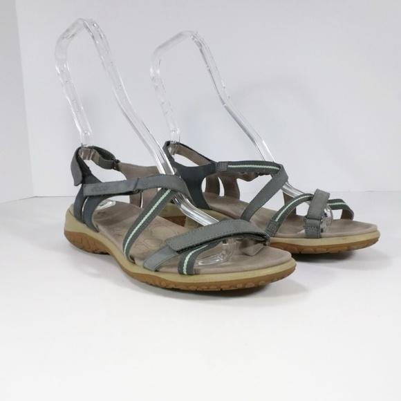 bf9e6cee1 Ecco Shoes - Ecco Gray Mint Green Stripe Strappy Sandals 40